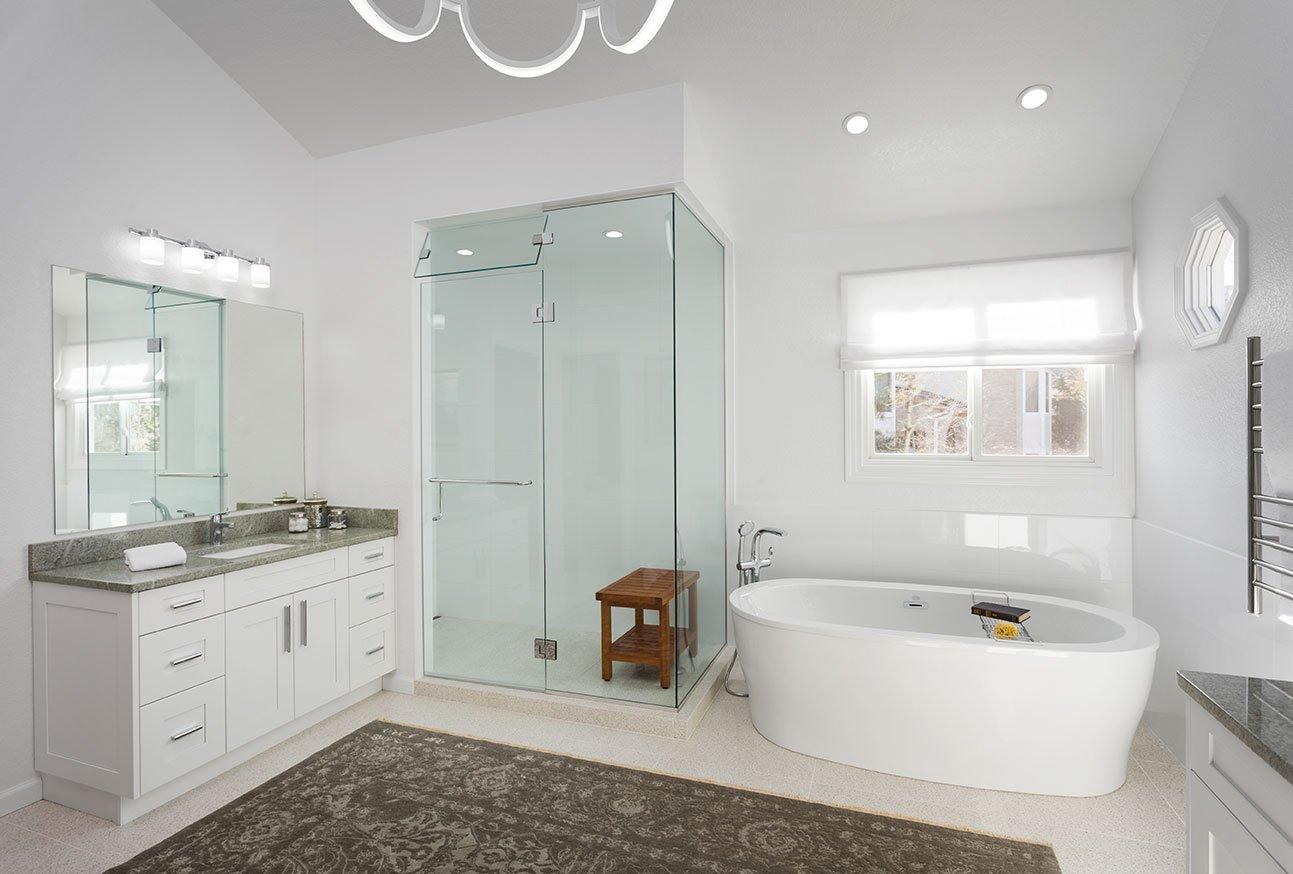 Clean white master bathroom remodel