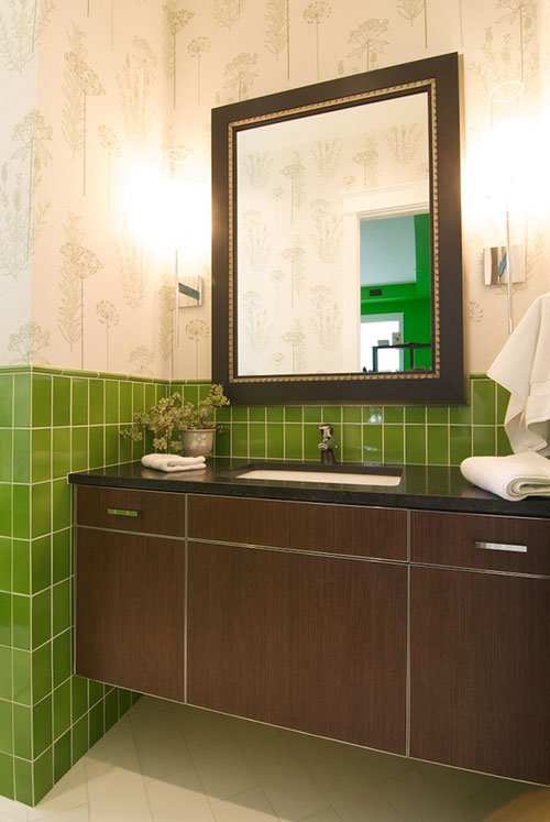 Guest Bathroom with green wall tile