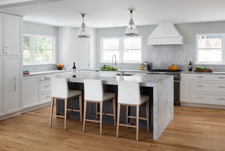 Clean airy kitchen remodel with island