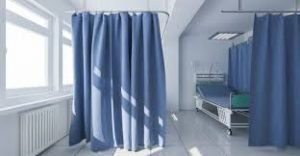 Sterile hospital room with curtains