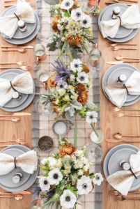 Natural copper and silver thanksgiving table sread