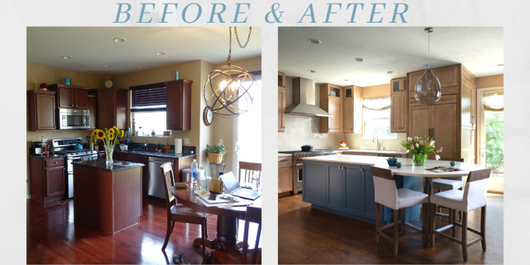 Before and after comparison of a kitchen remodel