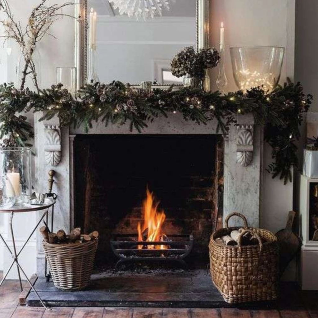 Hygge cozy fireplace decorative ideas