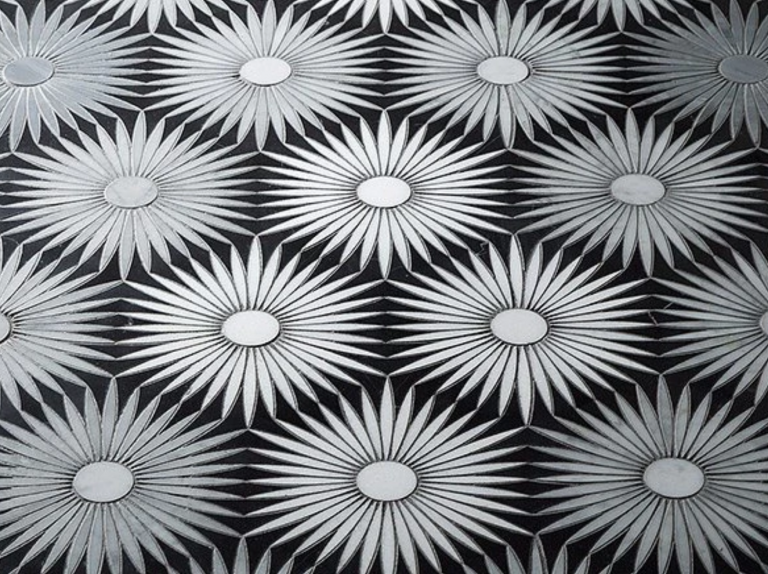 Modern black and white tile stone example